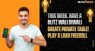 Blitzpoker's Festive Fiesta; Rs 6 Lakh Diwali Freeroll, Private Tables and Celebrity Match Launch